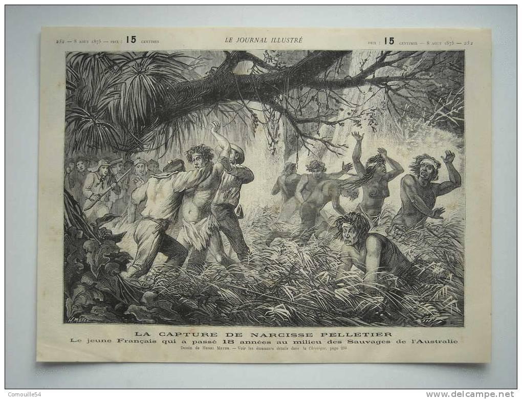 """Cette gravure du 8 août 1875, tirée du """"Journal illustré"""", montre la capture de Narcisse Pelletier en Australie. Ce dernier ne voulait pas quitter son clan d'Aborigènes."""