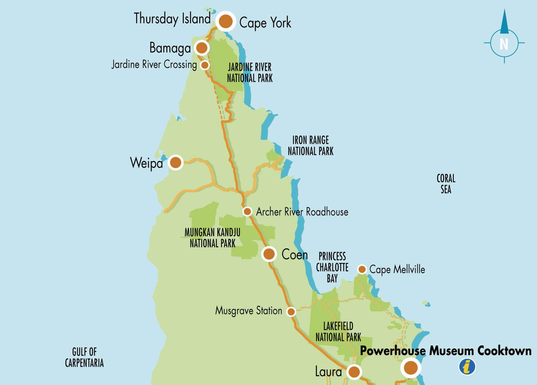 """Sur cette carte du cap York, on peut lire, sur la côte est : """"Iron Range National Park"""" ; c'est au sud de cette indication, dans une baie, que vécut pendant 17 ans, le jeune mousse vendéen."""