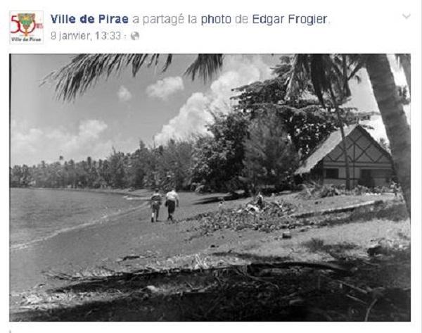 """Alors que la baignade est interdite depuis le 8 janvier, le lendemain la page Facebook """"Ville de Pirae"""" partageait une vieille photo de la plage du Taaone dans les années 1950 mais ne parle absolument pas de l'arrêté municipal pris la veille !"""