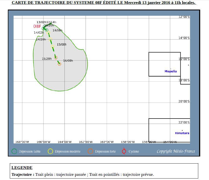 Carte de trajectoire de la dépression O8F émise par Météo France à 11 heures ce mercredi.