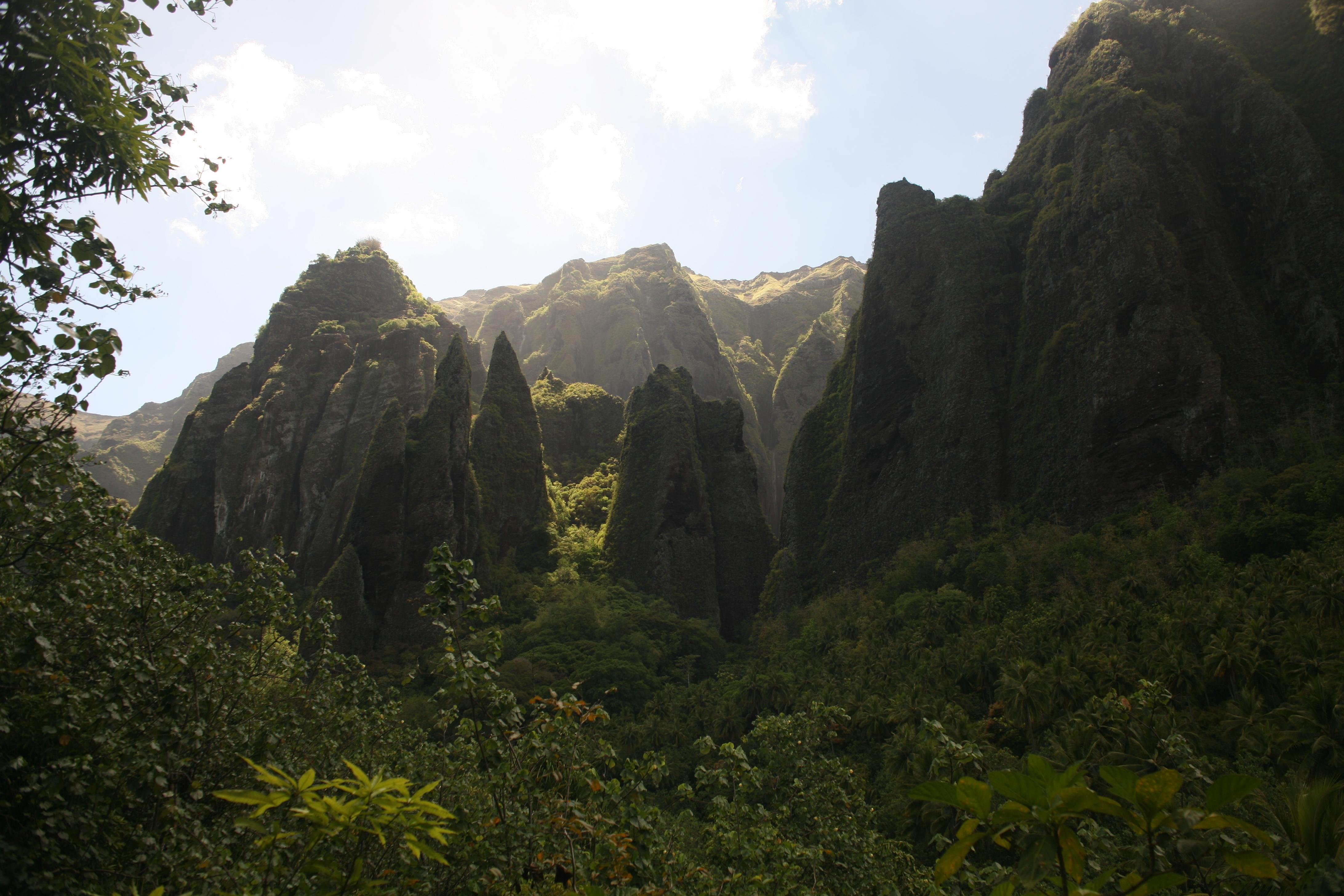 Un paysage typique de la vallée de Hakaui ; l'érosion a dessiné des reliefs extrêmes.