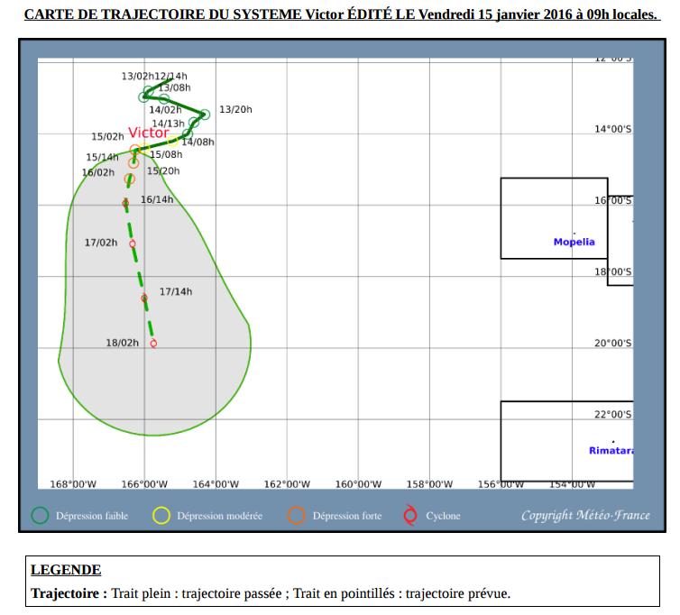 Carte de prévision de trajectoire éditée par Météo-France, le 15 janvier à 9 heures.