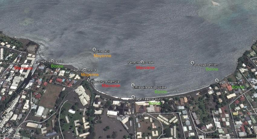 La baie du Taaone avec les différents points de contrôle où des prélèvements d'eau ont été analysés. Avec les résultats de chacun des sites : bon, moyen ou mauvais.