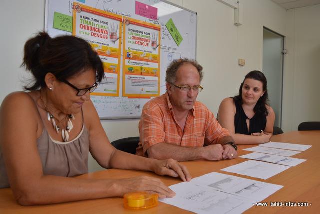 Pauline Niva du département des programmes de prévention de la Direction de la santé, le docteur Henri-Pierre Mallet du bureau de veille sanitaire et Priscilla Bompard, épidémiologiste commentent les chiffres de cas de dengue confirmés, enregistrés au cours des deux premières semaines de janvier.