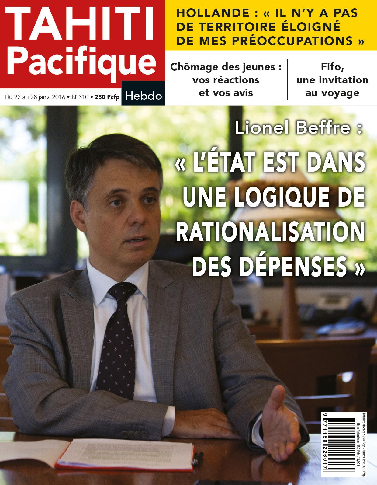 L'interview de Lionel Beffre à la Une de Tahiti Pacifique Hebdo