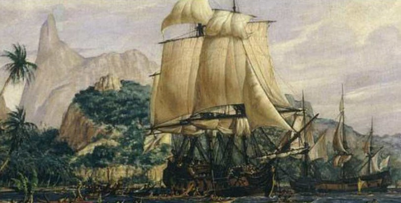La Boudeuse et l'Etoile à l'ancre à Tahiti. Jeanne Baret restera consignée à bord durant toute l'escale.