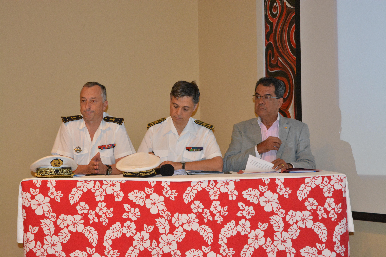 L'ouverture de la conférence maritime régionale hier matin au lycée hôtelier de Punaauia avec Bernard-Antoine Morio de l'Isle, commandant les forces armées en Polynésie française, le haut commissaire Lionel Beffre et Edouard Fritch, le président du Pays.