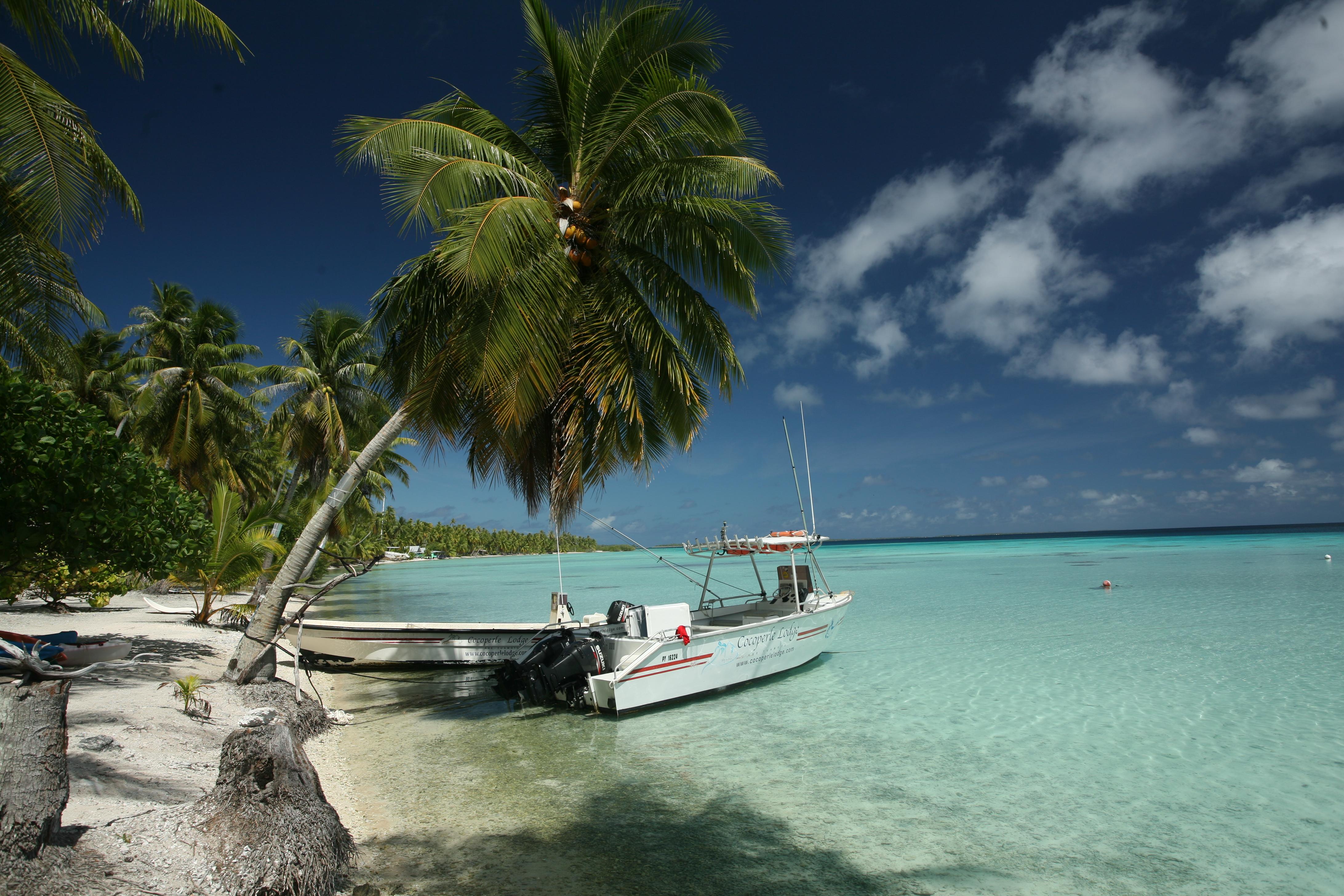 La plage devant la pension et l'un des bateaux de Franck.