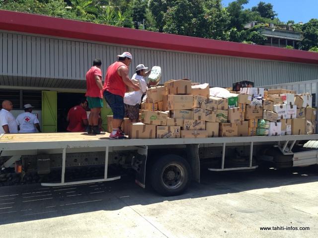 Les produits sur Pirae ont été acheminés sur Tiarei pour 960 personnes sinistrées