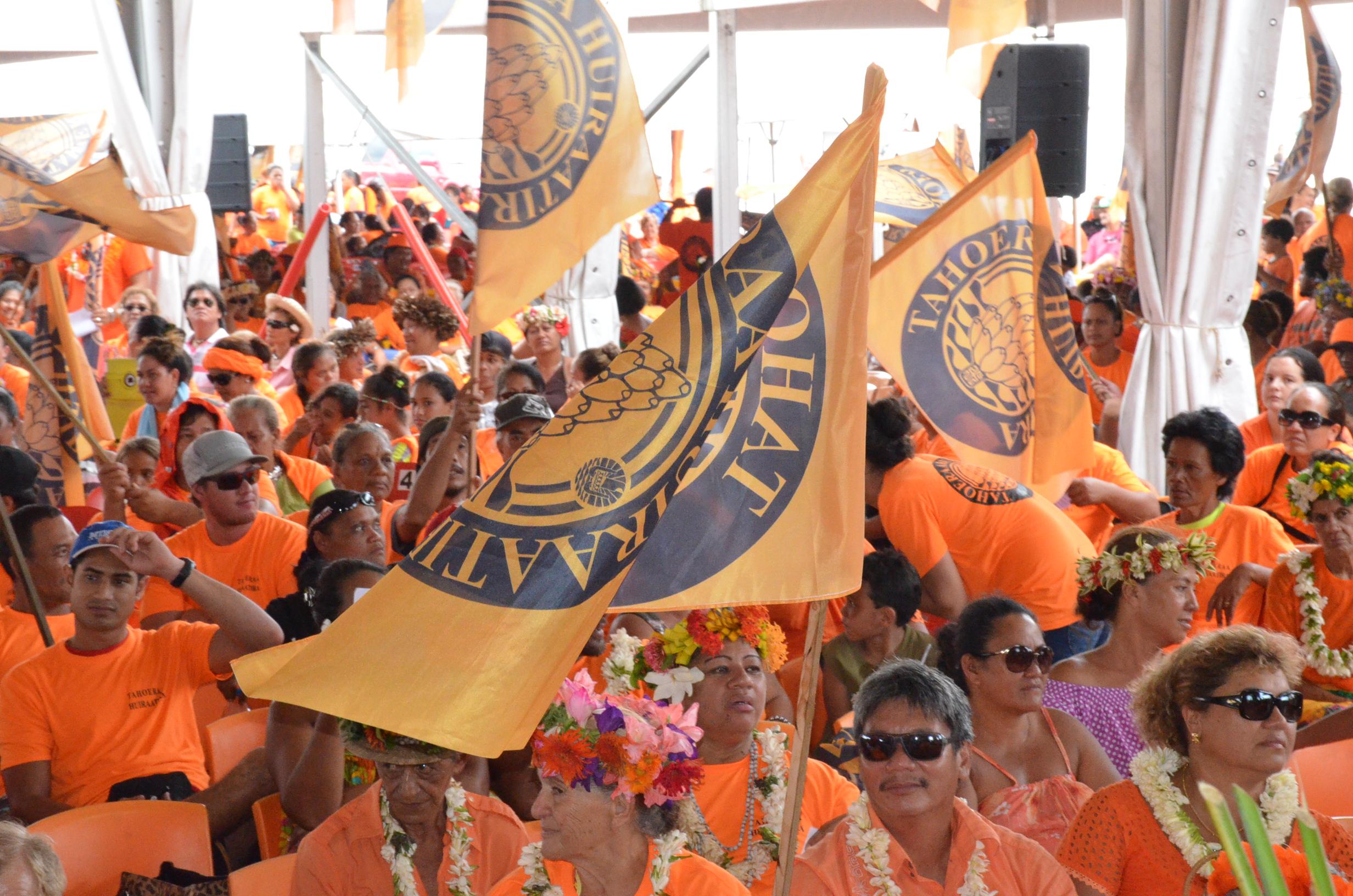 Les militants du Tahoera'a lors du dernier congrès du parti, le 28 novembre 2015 à Vaitupa, Faa'a.