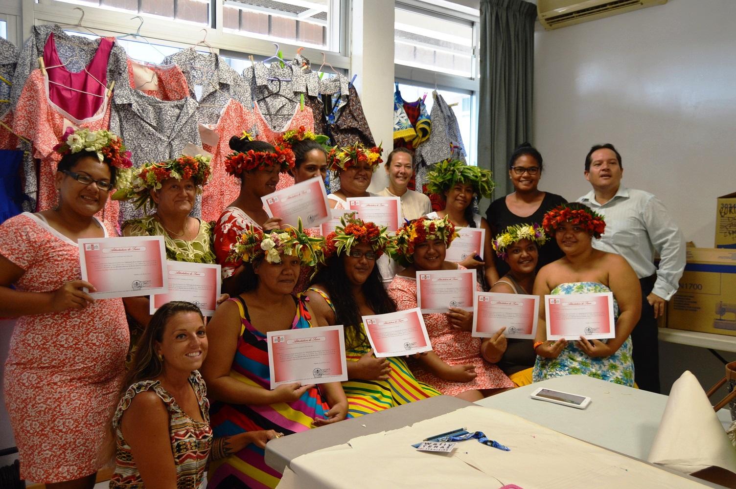 Formation couture à Pirae : 13 stagiaires ont reçu leur attestation