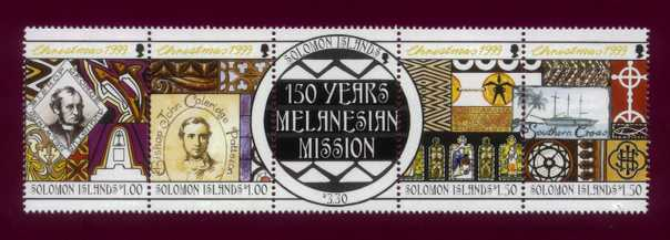 Les postes  des îles Salomon ont rendu hommage aux pasteurs pour les 150 ans de la mission mélanésienne ; deuxième à gauche, Patteson.
