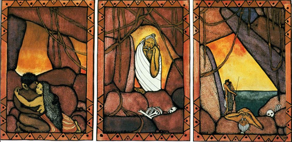 Tritype, trois tableaux assemblés de Bobby Holcomb, représentant le début de la légende de Tafa'i : les amants Hina et Monoihere, Nona la mère cannibale, la mort de Nona.