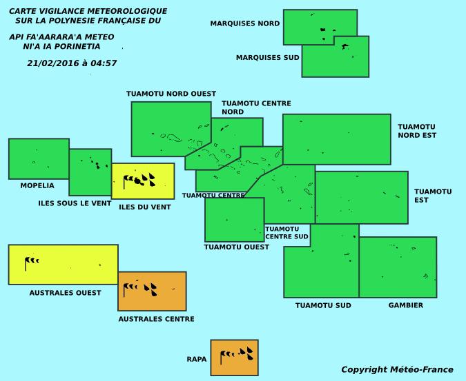 Météo: Vigilance orange maintenue sur les Australes centre et Rapa