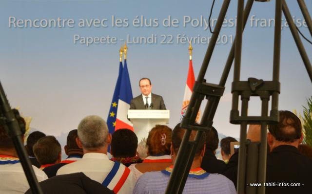 François Hollande pendant son allocution à la présidence de la Polynésie française ce lundi à la mi journée.
