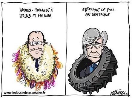 Pour le site ledessindelasemaine.fr, le dessinateur Ménégol met en parallèle François Hollande couronné de fleurs à Wallis et Futuna et Stéphane Le Foll, couronné lui d'un pneu ! Le ministre de l'Agriculture lui est en effet englué dans ses problèmes avec le monde paysan.