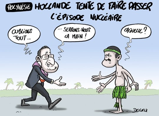 """Le caricaturiste Xavier Delucq revient sur la reconnaissance de """"l'impact"""" des essais nucléaires dans le Pacifique."""