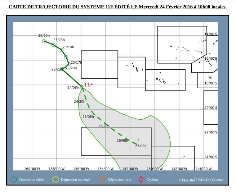 La trajectoire prévue de la dépression 11F va concerner aux Australes les îles de Rimatara et Rurutu.