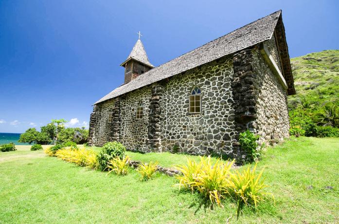 Eglise Notre Dame du Sacré-Coeur de Taaoa à Hiva Oa. Photo Yan Peirsegaele