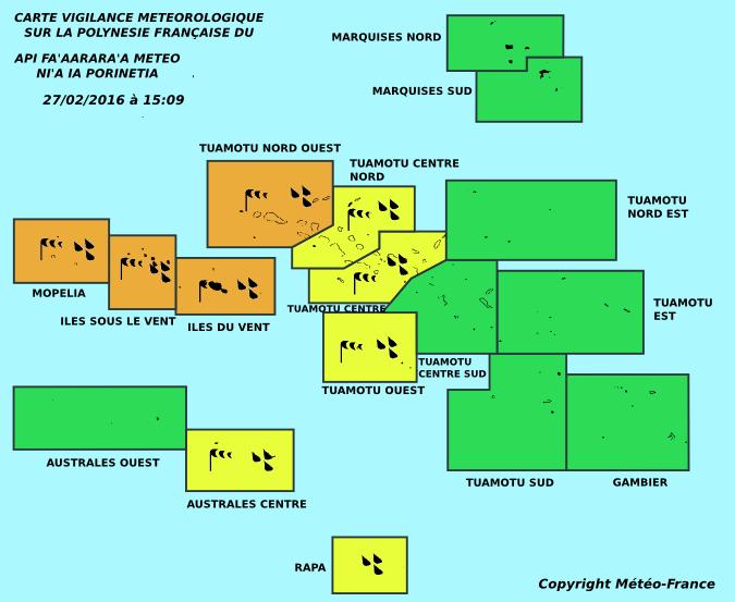 De fortes pluies prévues ce soir aux Tuamotu et sur La Société