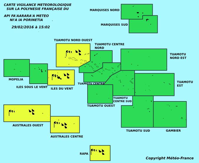 """A 15 heures ce lundi Météo France a redescendu le niveau de vigilance météo à """"jaune"""" sur les Tuamotu Nord Ouest, les Îles du Vent et les Australes."""