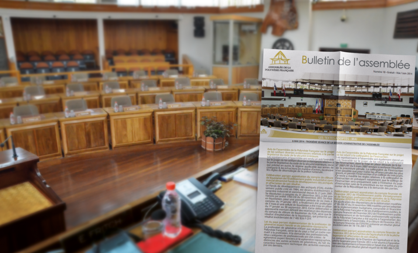 """L'assemblée territoriale est condamnée à verser près de 2,7 millions Fcfp à la société B Edition, suite à l'arrêt prématuré de la publication du périodique d'information """"Bulletin de l'assemblée""""."""