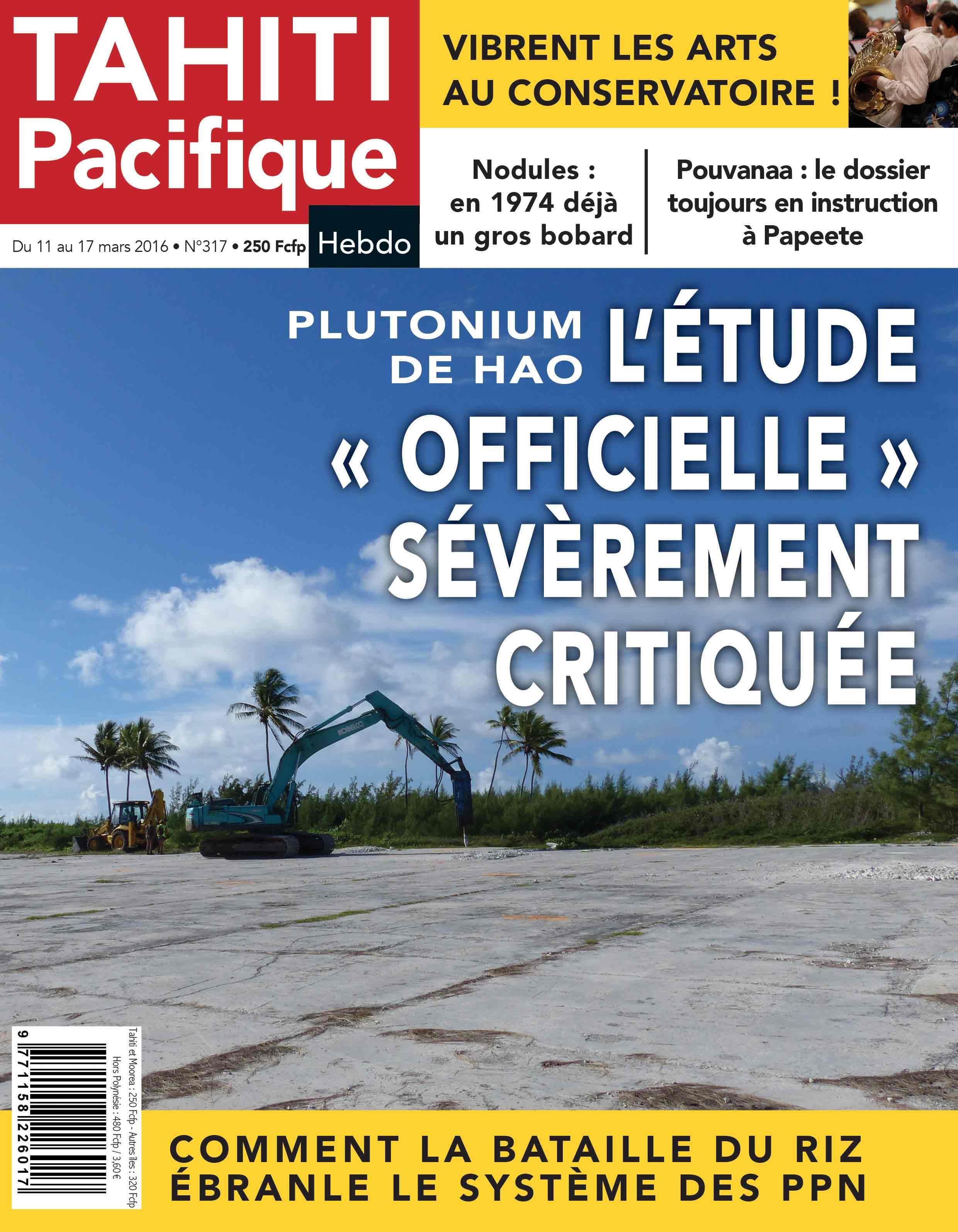 A la Une de Tahiti Pacifique Hebdo :