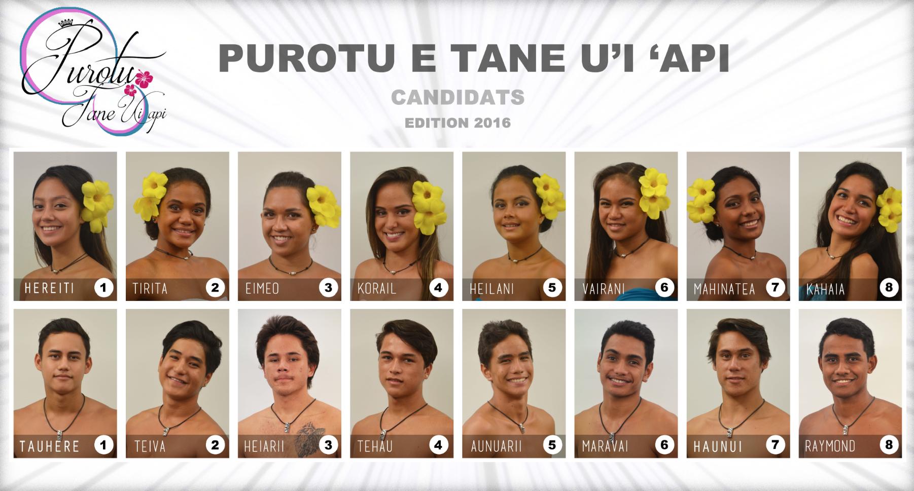 Les seize candidats en lice.