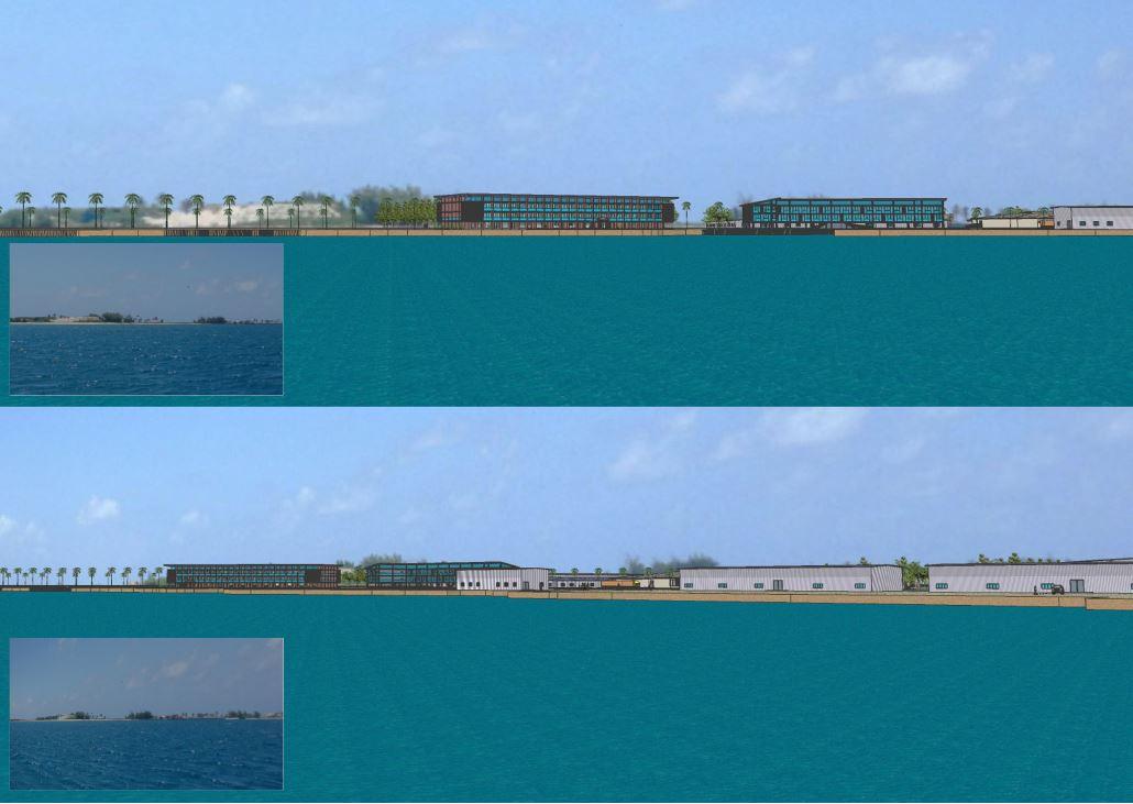 Simulation de la perception visuelle du complexe industriel aquacole de Tahiti Nui Ocean Foods, depuis le lagon, à une distance de 100 mètres environ.