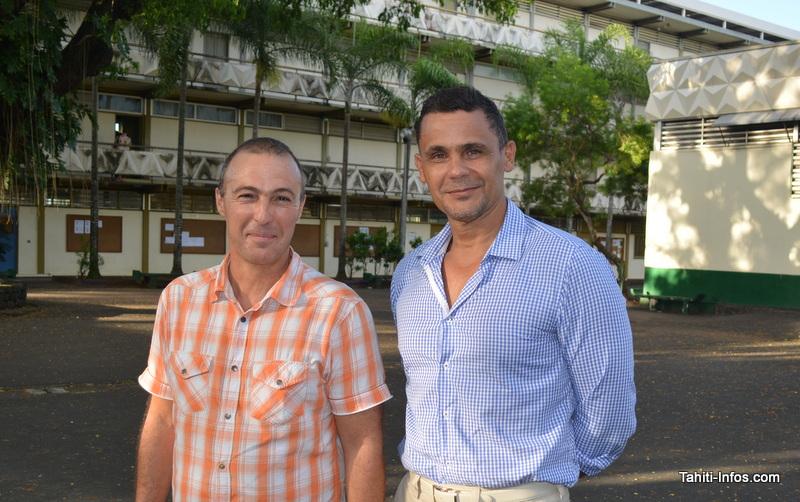 Antoine Biddau, chef de travaux, et Jimmy Legros, proviseur du Lycée de Taaone.