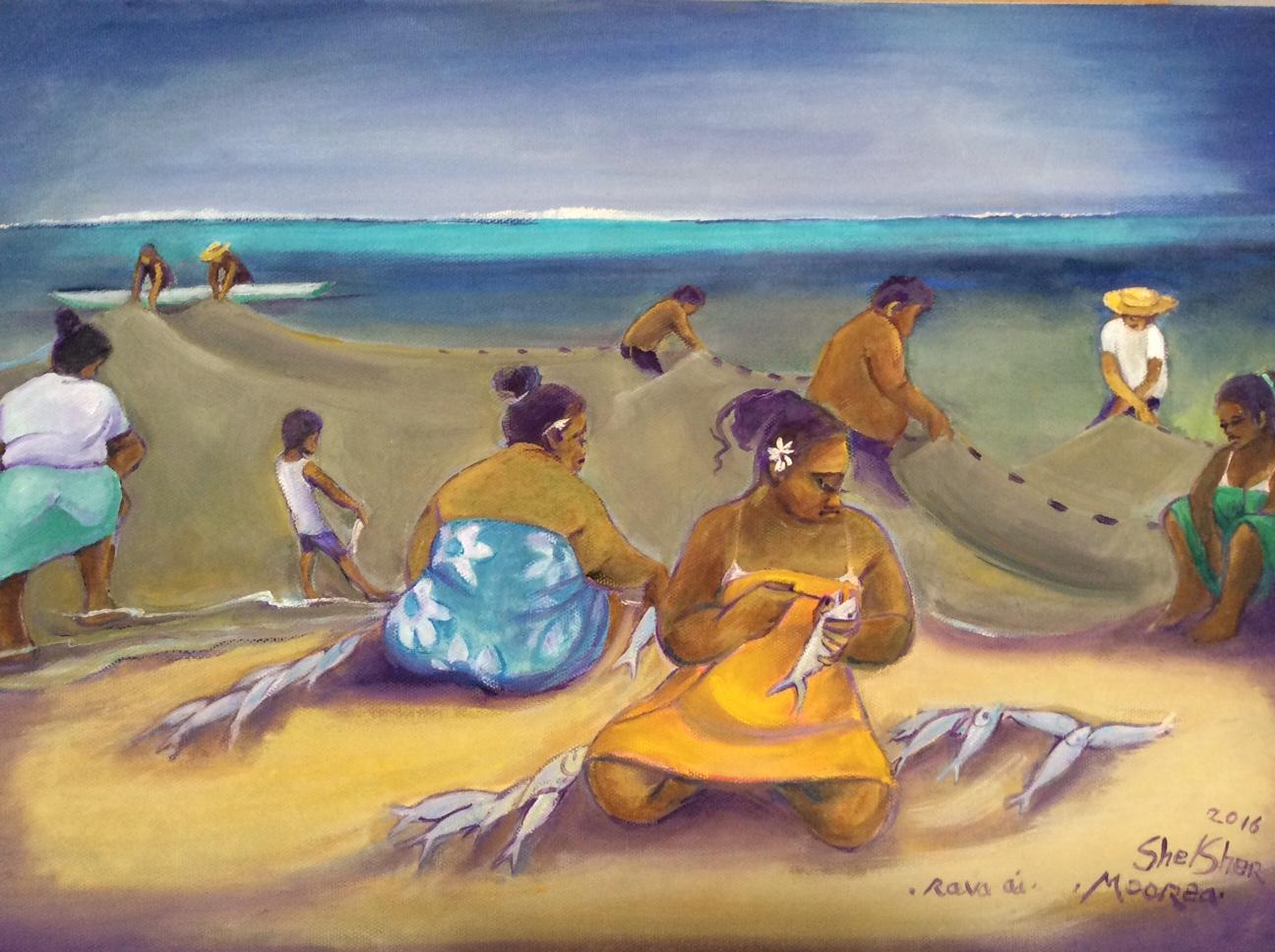 La peintre anglaise Jean Shelsher n'a de cesse de rendre hommage à Tahiti depuis son premier séjour en 1969.