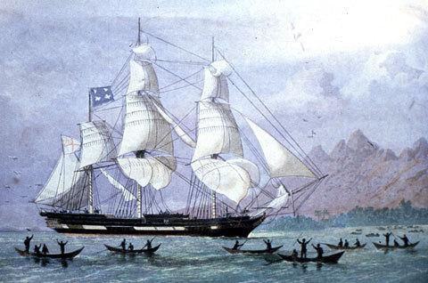 Illustration de l'arrivée du Duff à Tahiti, le 5 mars 1797.