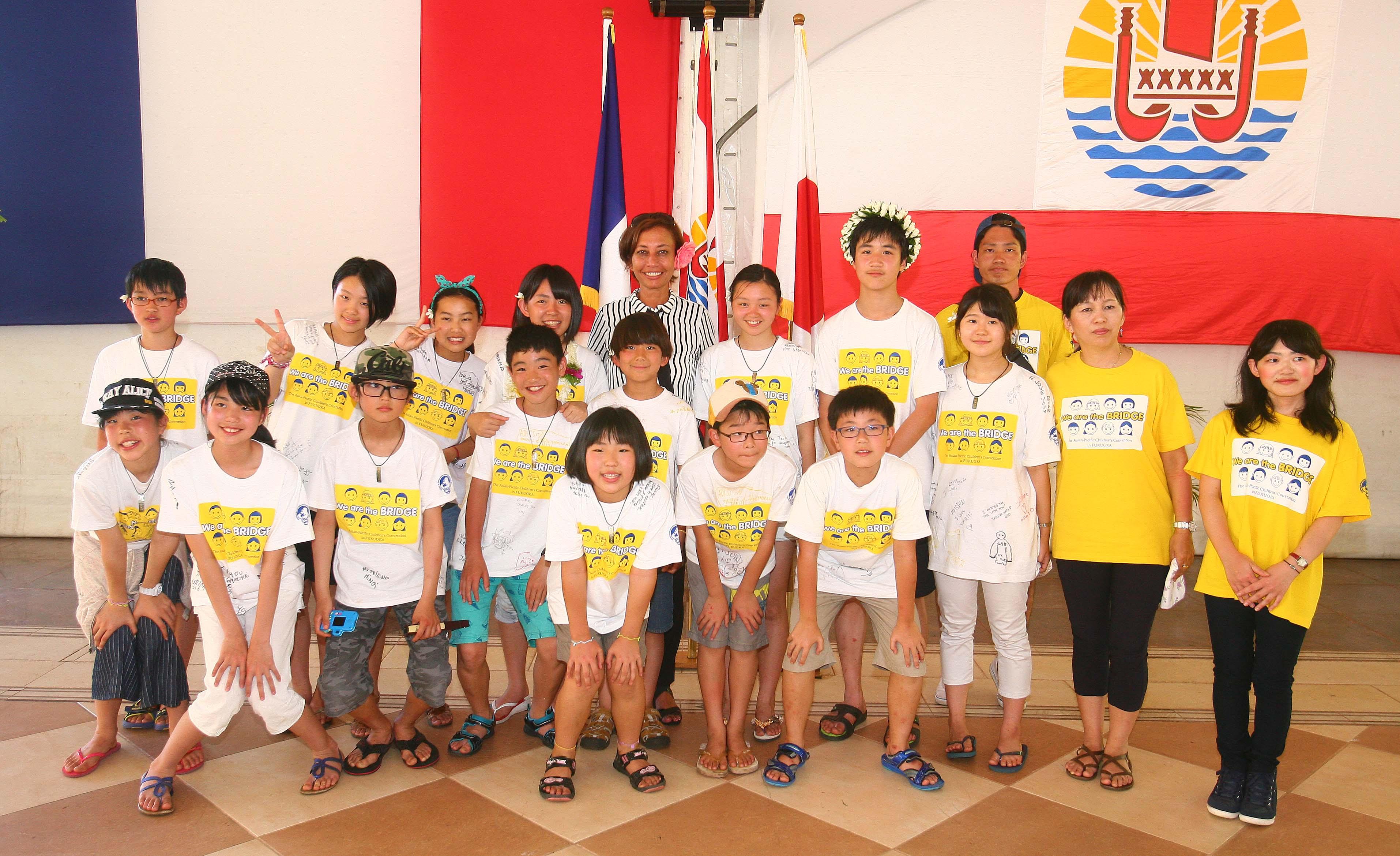 Nicole Sanquer-Fareata reçoit une délégation japonaise dans le cadre du partenariat avec l'Asian Pacific Children's Convention