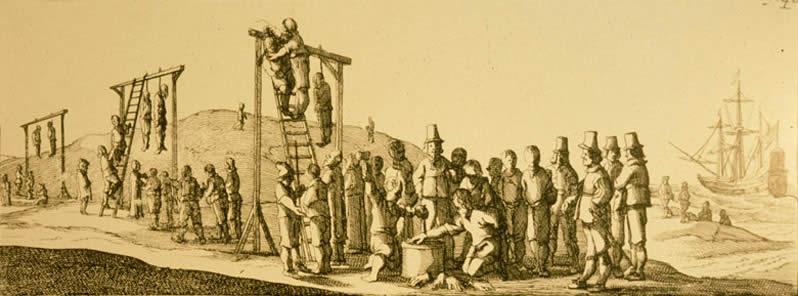 Gravure représentant la pendaison de Jeronimus, jugé aux Abrolhos.