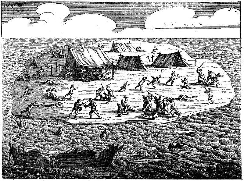 Les hommes de main de l'ex-apothicaire hollandais, massacrant des innocents sur l'îlot où ils avaient trouvé refuge.