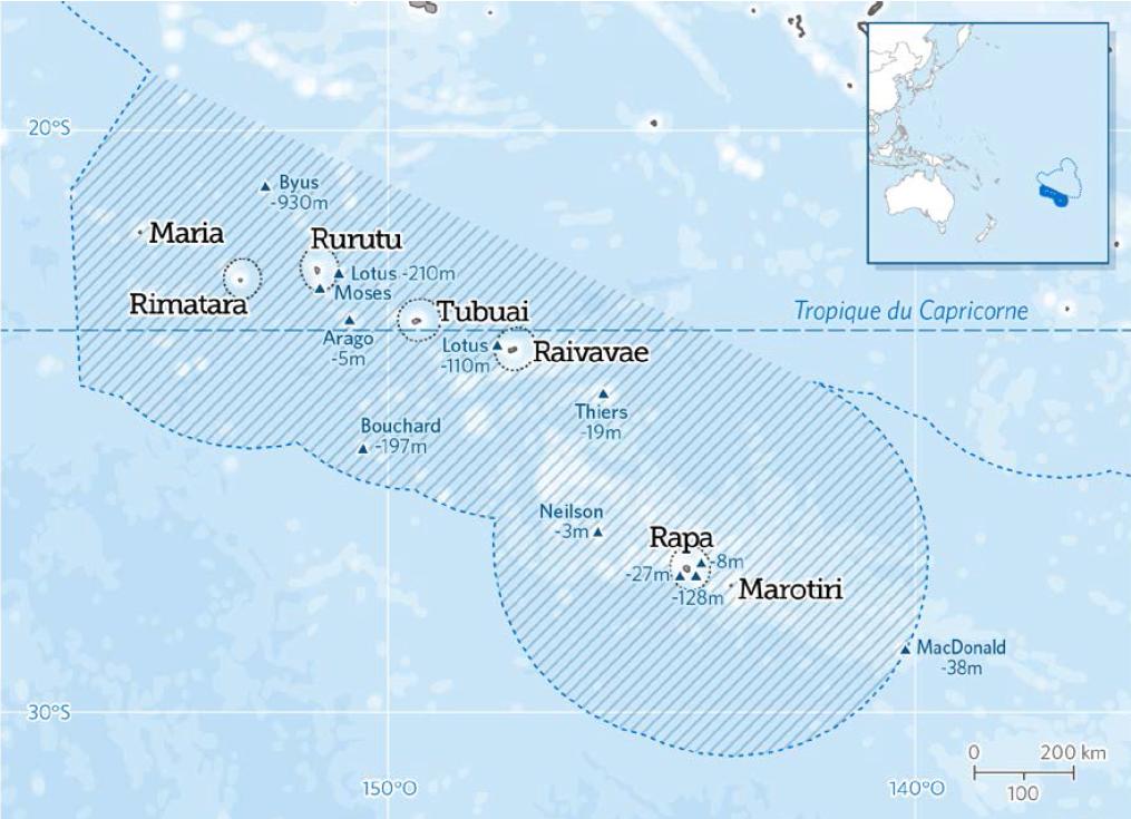 Le projet d'aire marine protégée des Australes reviendrait à verrouiller un million de km2 autour de l'archipel, à l'exception d'une zone de pêche libre dans la limite des 20 nautiques des côtes pour les pêcheurs locaux.
