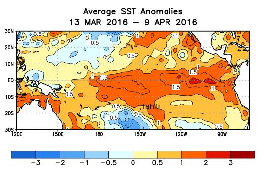 Le phénomène El Niño continue de s'atténuer mais devrait rester fort jusqu'en mai (graphique : variation de la température de l'océan autour de la normale saisonnière).