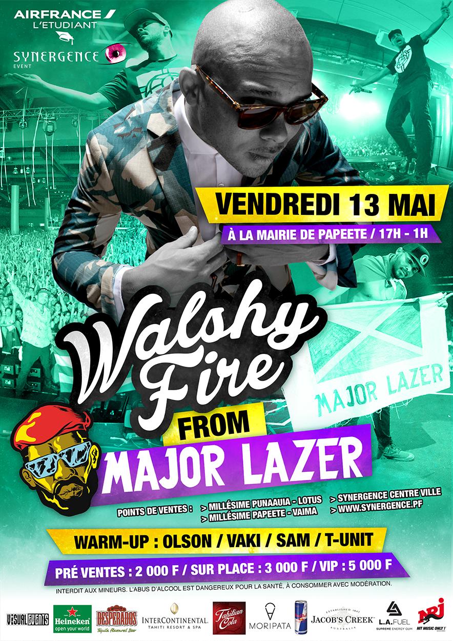 Walshy Fire, du groupe Major Lazer, en concert à Tahiti le 13 mai !
