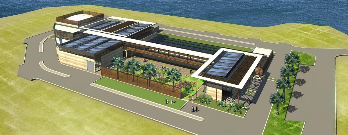 Une vue de la station d'épuration biologique de Papeete en cours de finition actuellement à Fare Ute. La station proposera un parcours pédagogique qui permettra de prendre connaissance de son fonctionnement, des enjeux de l'assainissement des eaux usées et de cette démarche environnementale.