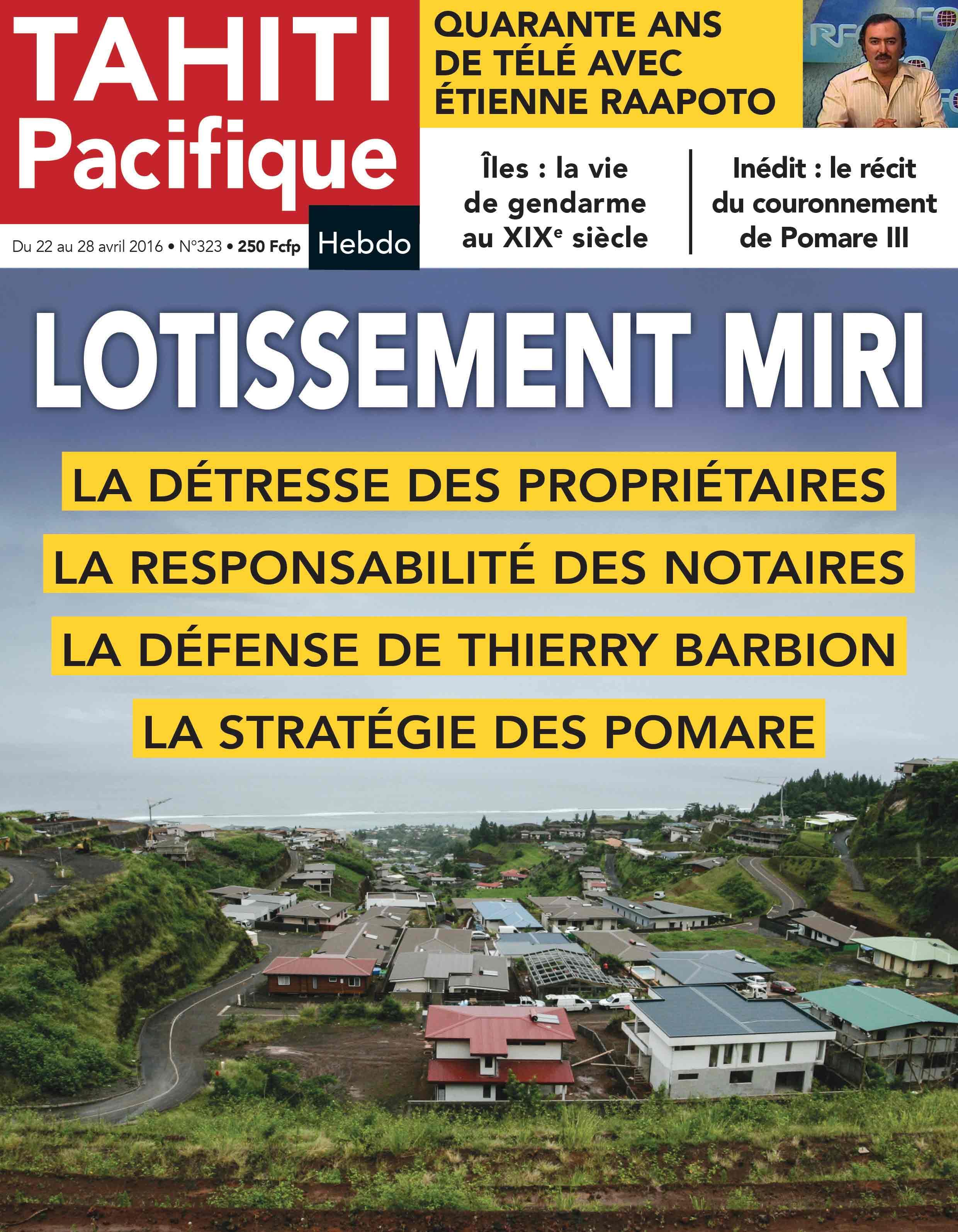 A la Une de Tahiti Pacifique Hebdo aujourd'hui