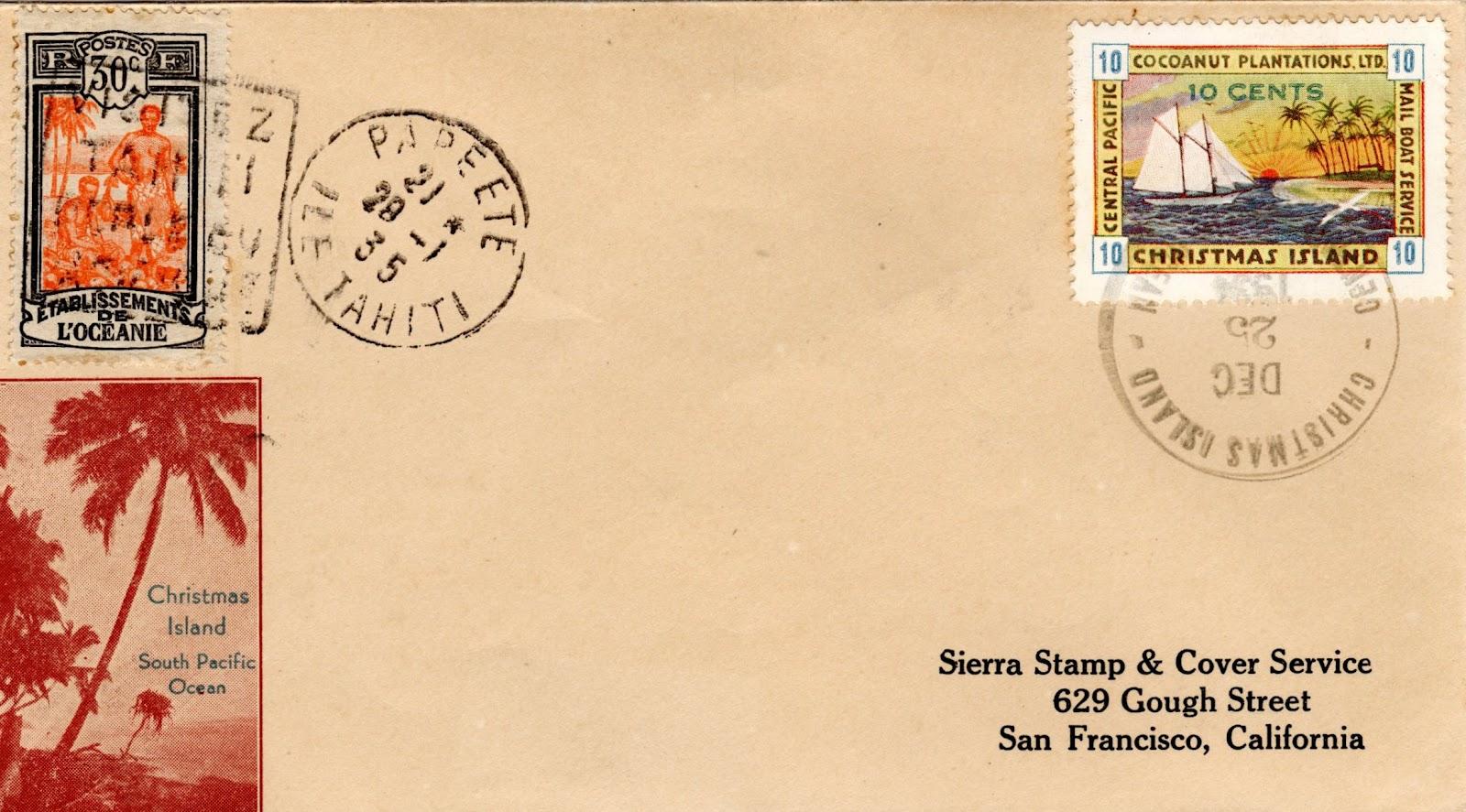 Sur cette lettre affranchie à Christmas Island, on voit qu'un double affranchissement EFO (à gauche) a été fait pour que le courrier arrive à destination, les postes ne reconnaissant pas les timbres du prêtre millionnaire.