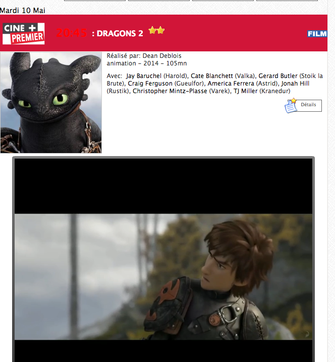 """Cliquez sur """"videos"""" pour acceder aux bandes annonces de vos films de la soirée"""