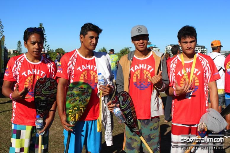 Les tahitiens en finale avec (de gauche à droite) Rooma Apuarii (6ème), Tutearii Hoatua (2ème), Revi Thon Sing (1er) et Hotuterai Poroi (3ème).