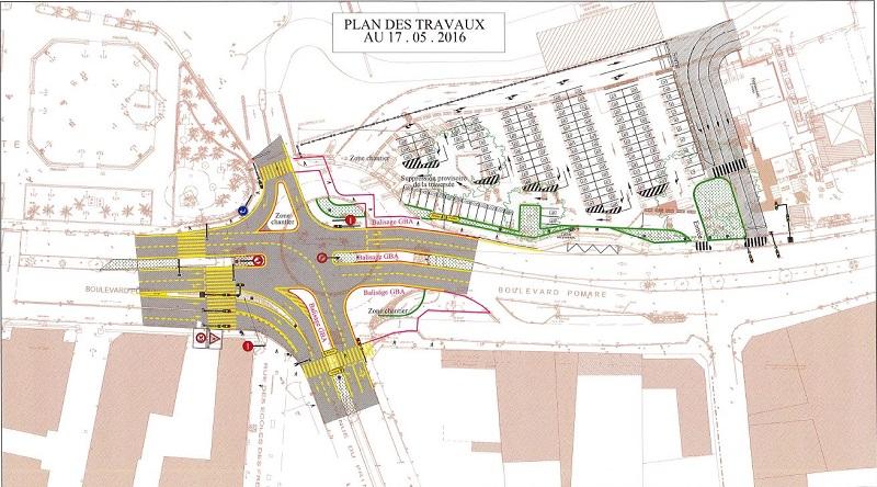 Plan de circulation à compter de ce jeudi 19 mai 2016. Les feux tricolores se mettent en place mais tous les travaux ne sont pas encore terminés (la finition des îlots centraux notamment).