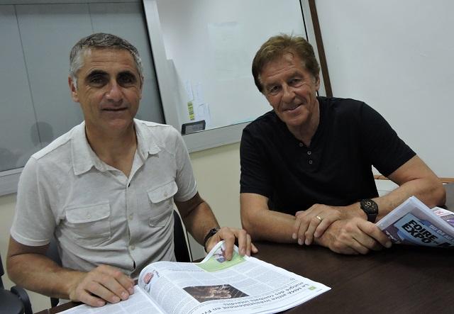 Laurent Jalabert et Henri Sannier à la rédaction de Tahiti Infos