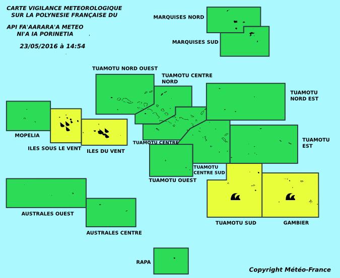 Vigilance jaune : fortes pluies sur la Société, forte houle aux Tuamotu sud et Gambier