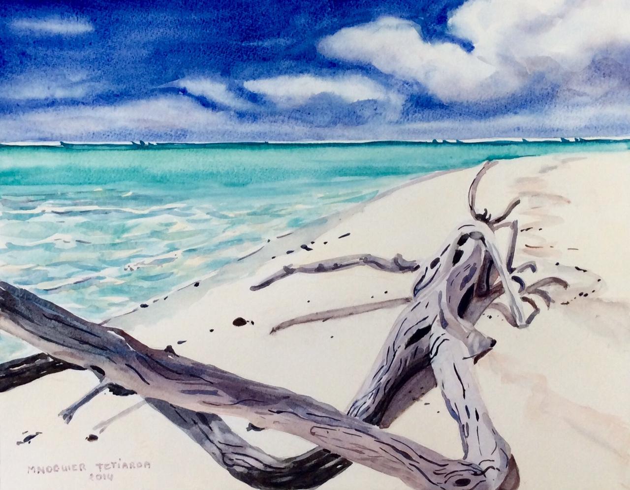 Les paysages de l'artiste invitent également à la relaxation grâce à des dégradés de couleurs chaudes propres à l'archipel des Tuamotu.