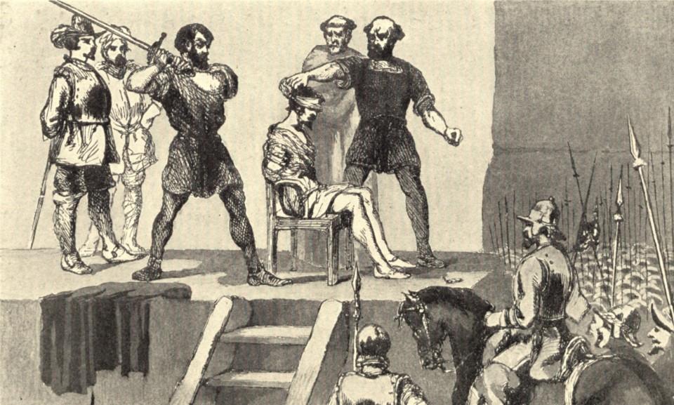 Au terme d'une parodie de procès, et bien qu'il fut très apprécié en Espagne, le découvreur du Pacifique a été décapité à l'épée en public.