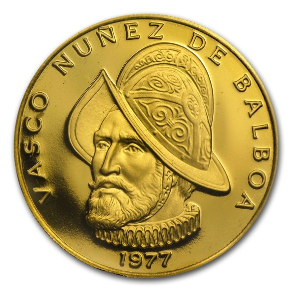 Une pièce d'or frappée en mémoire du découvreur du Pacifique. Au Panama, la monnaie est justement le balboa (rien à voir avec Rocky Balboa, pour les fans de Sylvester Stallone…).