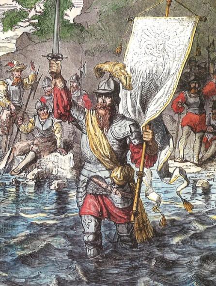 Au nom de l'Espagne et de son roi, le conquistador entre dans l'eau et prend possession du Pacifique en septembre 1513.
